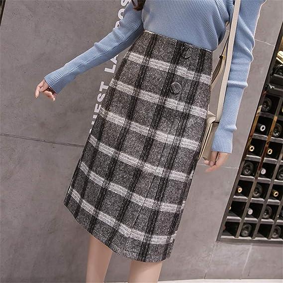 c409f155b4 LLFUSM Falda Cintura Alta de Invierno Una línea Faldas de Invierno a Cuadros  en Blanco y Negro Midi hasta la Rodilla Mujer Faldas Mujeres