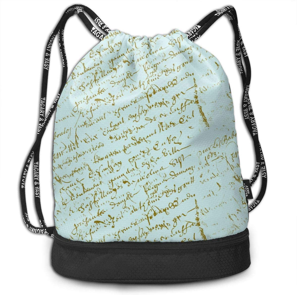 Rfrench Script 1609 Seven Drawstring Backpack Sports Athletic Gym Cinch Sack String Storage Bags for Hiking Travel Beach