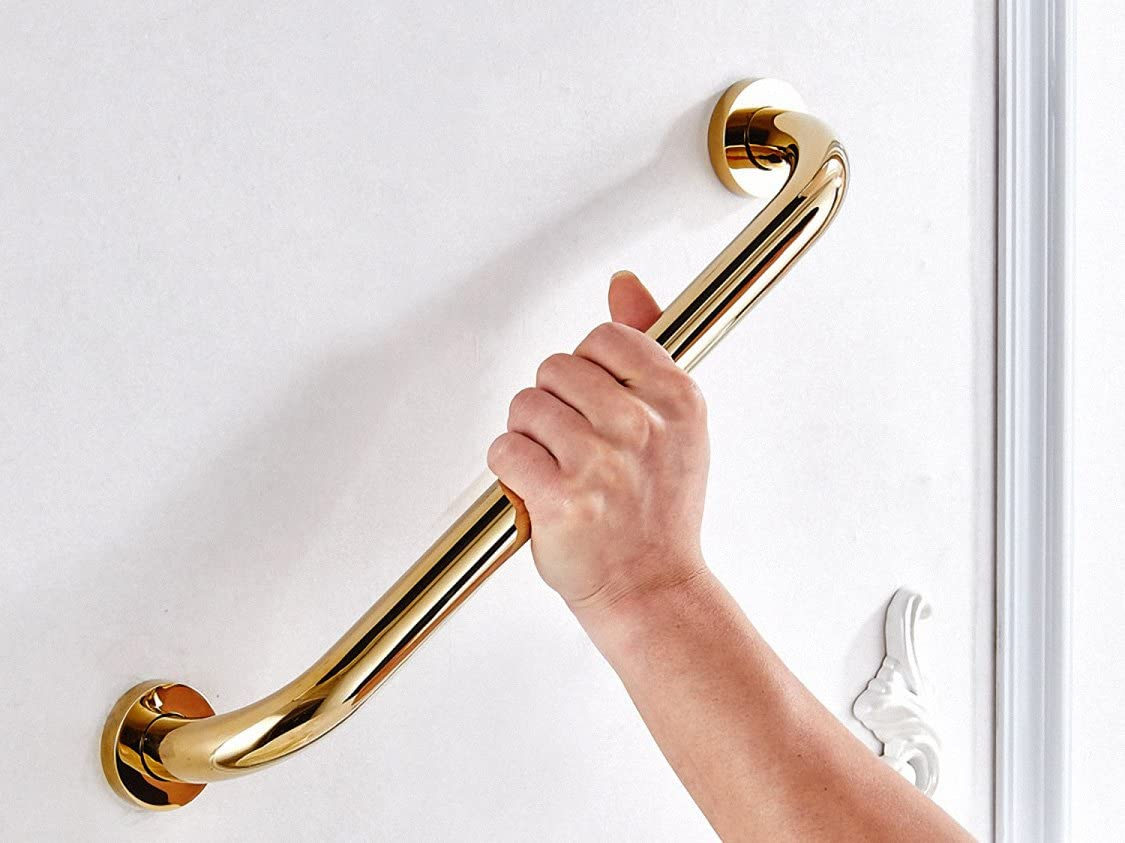 700Brass 12-Zoll Grab Leiste für Hotel/Motel/Zuhause Shower Safety, Solid Brass, Polished Gold, Heavy-Duty Construction Armrest, Bathroom Bathtub Handrail