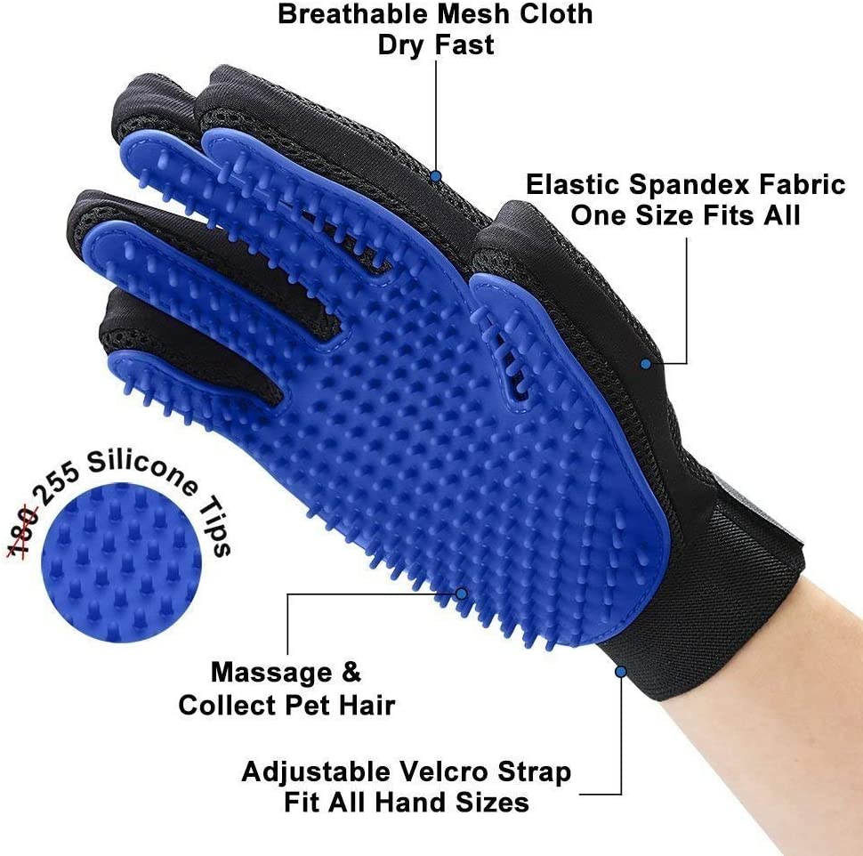 Perfect for Cats Dogs /& Horses with Long and Short Fur Pet Grooming Glove Breathable Deshedding Massage Mitt with Enhanced Five Finger Design Efficient Pet Hair Remover Brush for Bathing