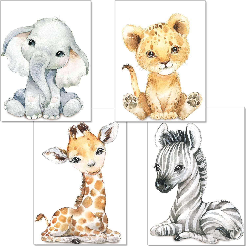 artpin® - Juego de 4 imágenes para habitación de niños, decoración para niños y niñas, DIN A4, póster, diseño de animales de la jungla