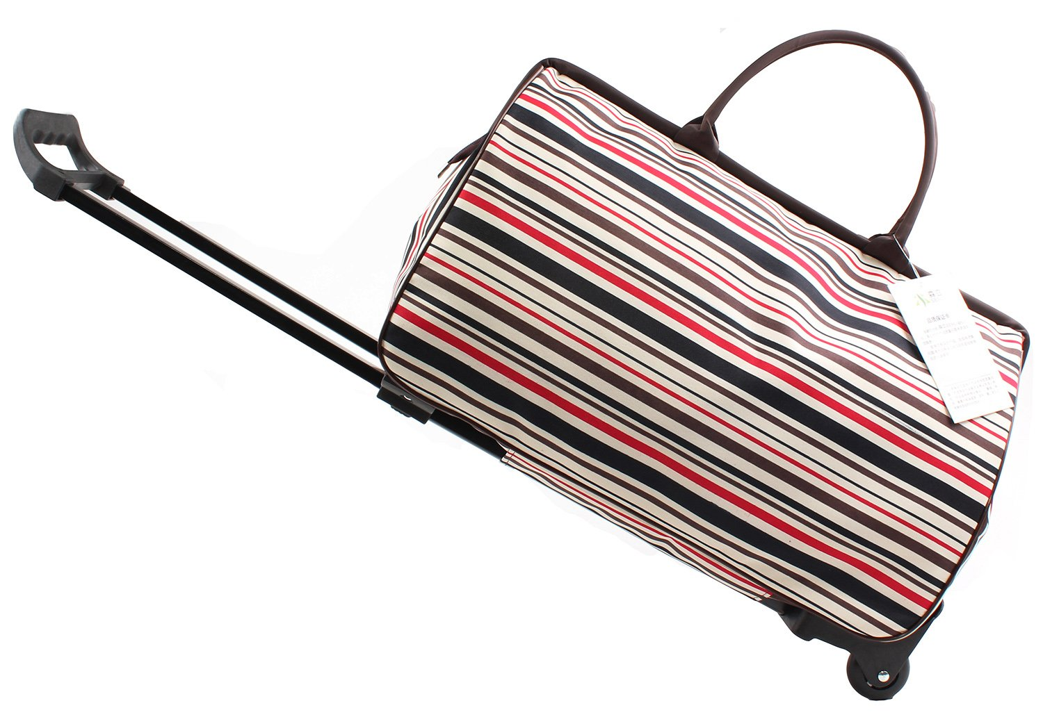 Jeemiter 20inch Luggage Rolling Duffle trolley travel bag tote Carry-On with red grid printed for Women Short Term Trips Weekend Excursion