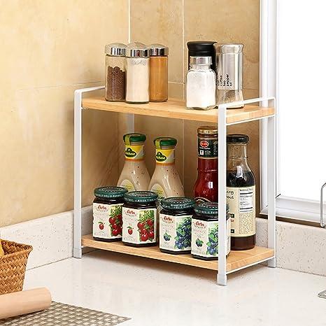 Scaffali da cucina Rack da cucina in legno massello Rack da ...