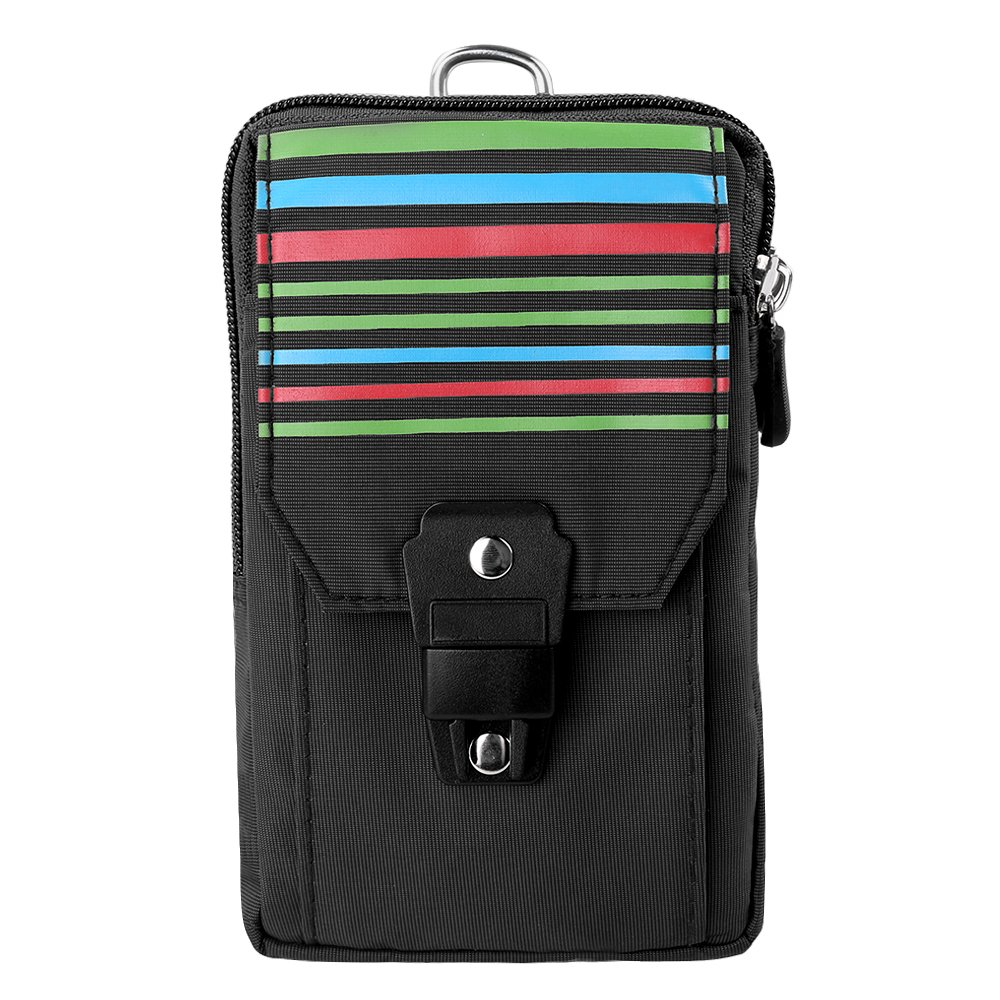 SLectionAccess Stripe Nylon Travel Pouch with Buckle and Wallet Case - Retail Packaging - Black/Black