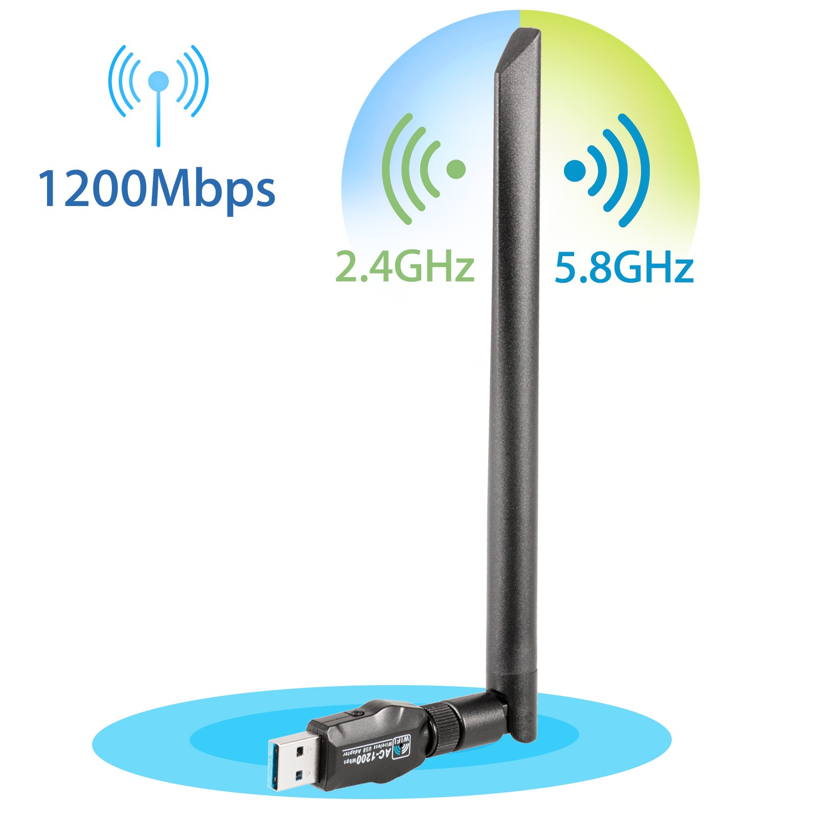 EEEKit USB 1200Mbps Wi-Fi Adapters/Dongles Dual Band 5dBi removable antenna 5.8GHz/802.11ac Super Speed USB 3.0 transmission support all WLAN routers: WPA/WPA2/WEP