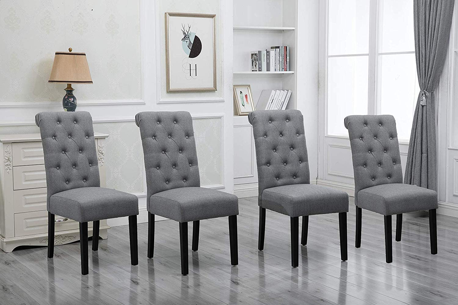 HomeSailing Comfortable Kitchen Dining Room Chairs Only Set of 4 Grey  Fabric Upholstered High Back Armless Chairs Side Chairs for Bedroom Living  Room