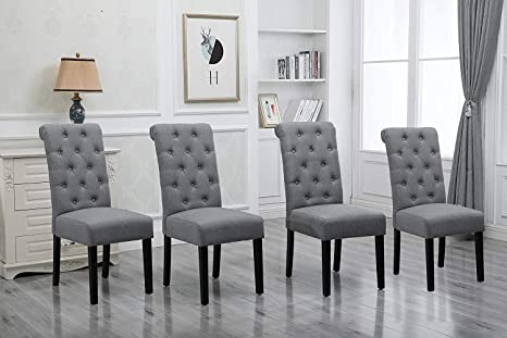 HomeSailing Comfortable Kitchen Dining Room Chairs Only Set of 4 Grey  Fabric Upholstered High Back Armless Chairs Side Chairs for Bedroom Living  Room ...