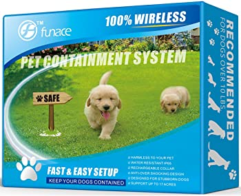 Wireless Pet Fence - Free to Roam Wireless Containment for Dogs - Rechargeable & Waterproof - Vibration & Static Shock Collar - Easy Installation No Need to Dig Trench & Bury Wire (1 Dog)
