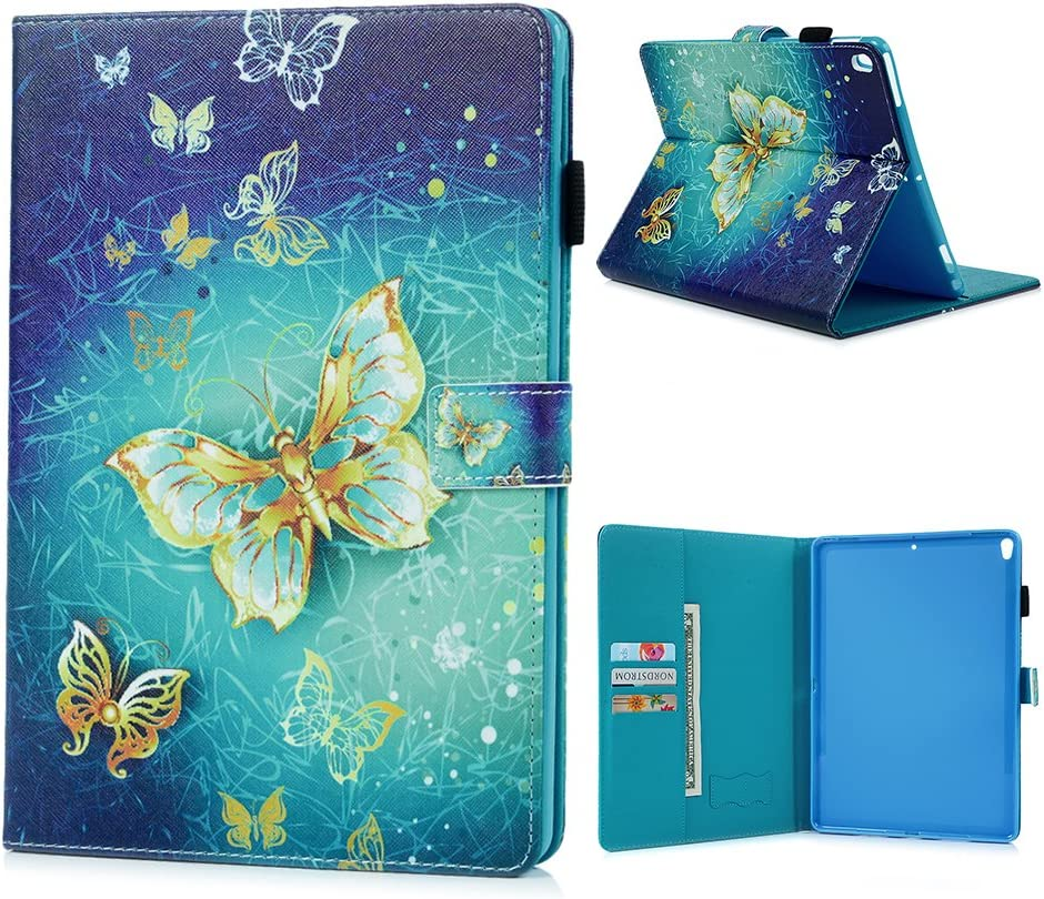 YOKIRIN iPad Pro 10.5 Case, Printed Gold Butterfly Pattern Magnetic Flip Soft TPU Inner Leather Wallet Case Slim Fit Smart Auto Wake Sleep Stand Cover for iPad Pro 10.5 inch