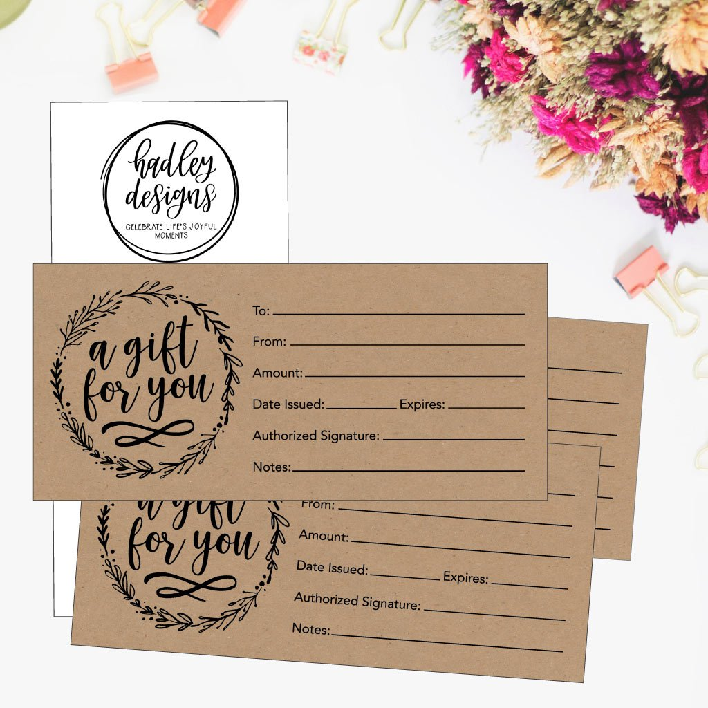 Amazon 25 4x9 Rustic Blank Gift Certificate Cards Vouchers For
