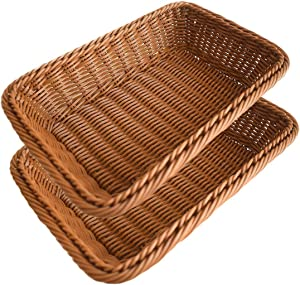 2pcs Bread Basket, BestimeX Poly-Wicker Storage Baskets, Food Fruit Vegetables Serving Baskets 12 inches
