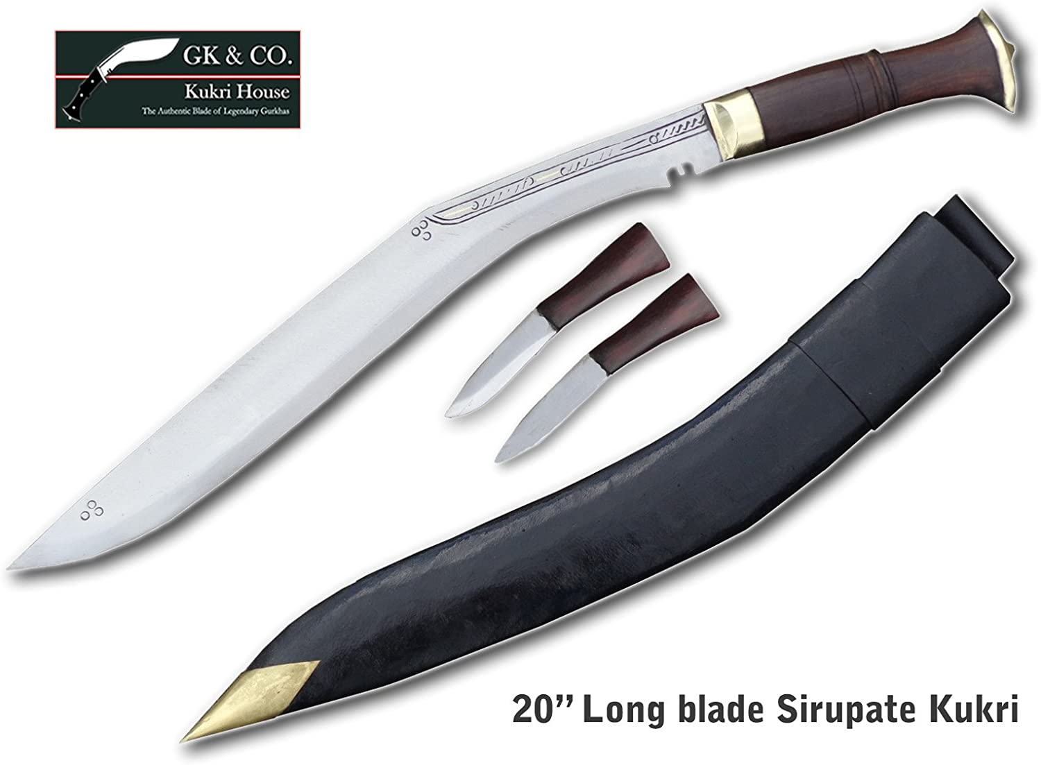 Genuine Gurkha Kukri Knife – 20 Blade Full Tang GK CO. Special Long Semi-polished Knife – Handmade by GK CO. Kukri House in Nepal.