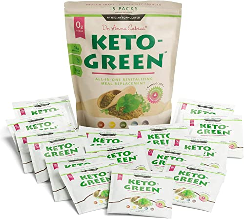 Keto Green Protein Shake – Chocolate Ketogenic Protein Powder Drink, Lactose Free Vegan Protein, Supports Gastrointestinal Health, Aides Natural Body Detoxification – 15 Serving Pack