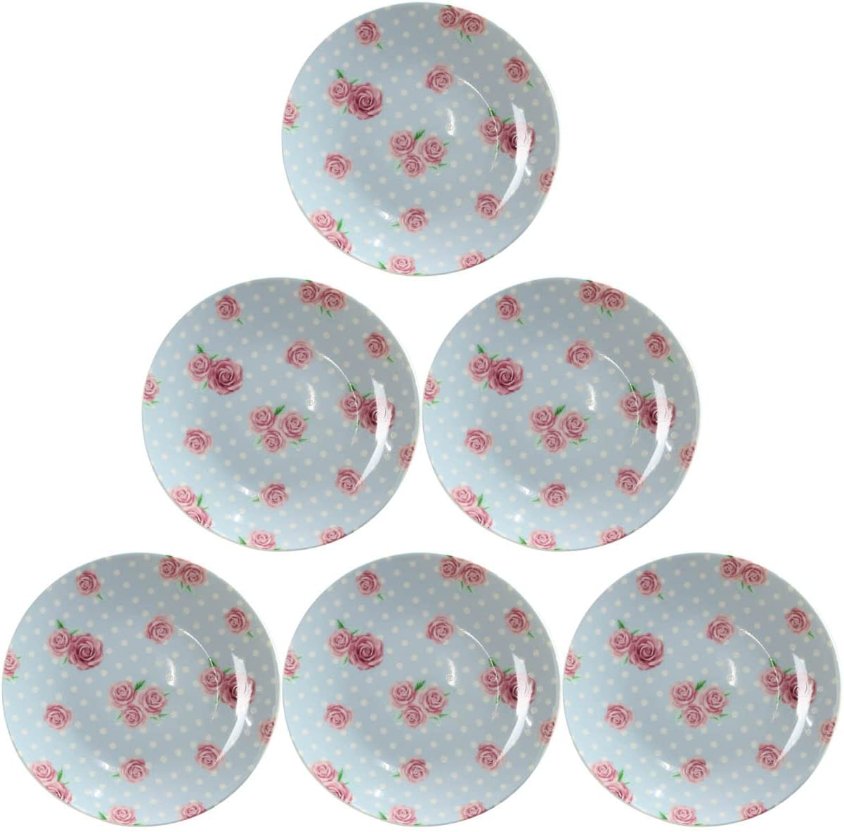 Afternoon Tea Coupe Shape Plate Tableware Party Rose Polka Dots 18cm Pack Of 6