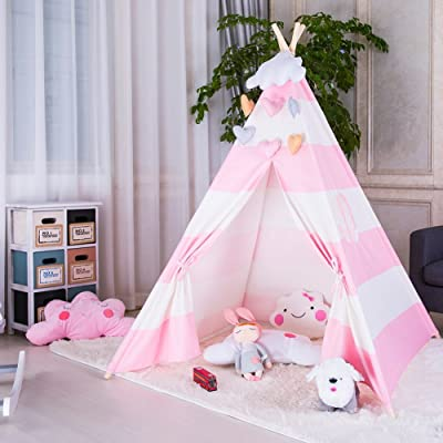 FOUR CLOVER Kids Teepee Children Play Tent Playhouse Classic Indian Style Decoration 100% Cotton with Carry Case for Indoor Outdoor, Pink Stripe: Toys & Games