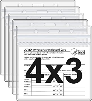 CDC Vaccine Card Holder Protector 3 X 4 Inches Waterproof Immunization Record Vaccine ID Cards Cover Holder Clear Vinyl Plastic Sleeve with Waterproof Type Resealable Zip (5)