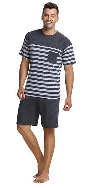 hombres pijama Ropa de noche de cuello redondo de verano de los corto conjunto: Amazon.es: Ropa y accesorios