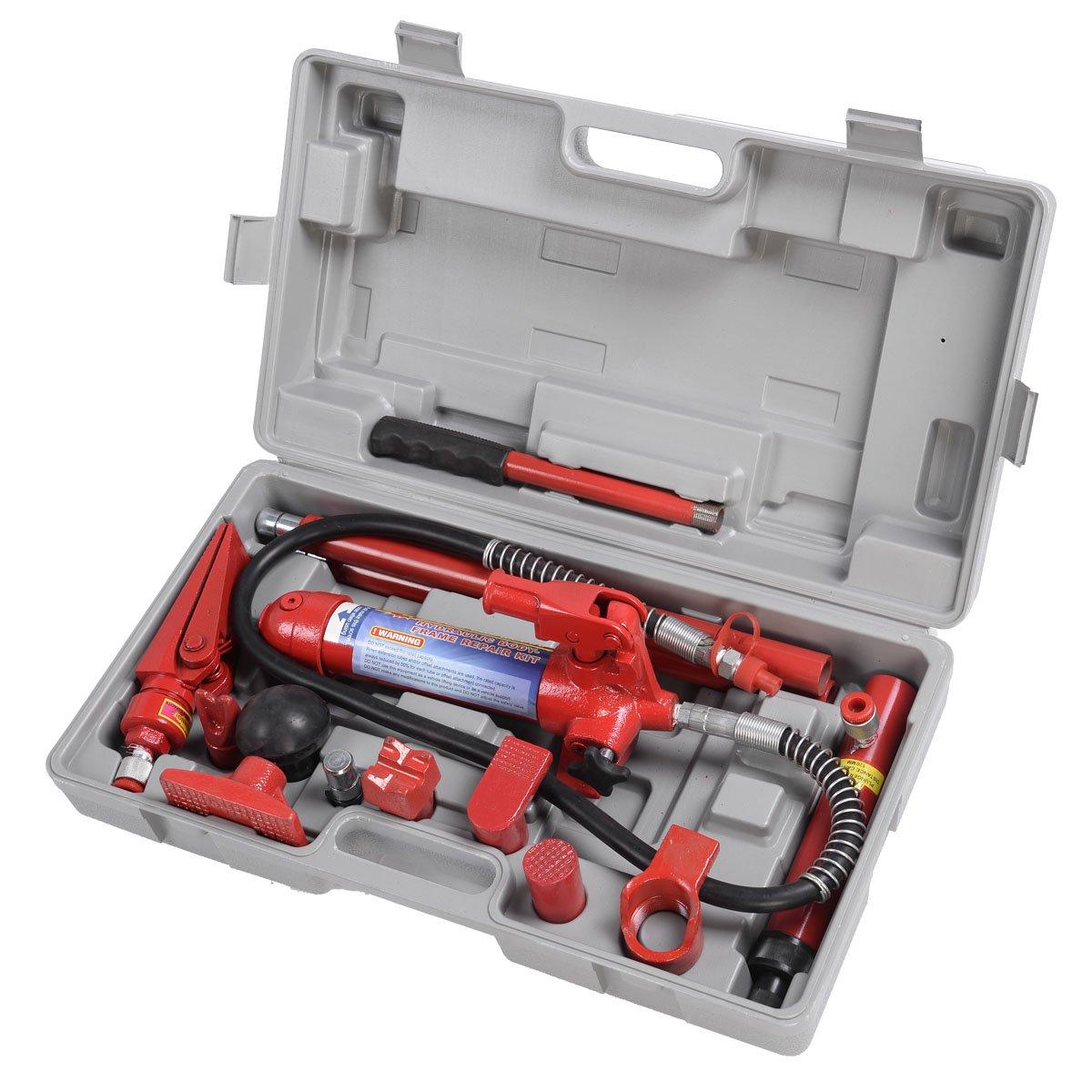 Goplus 4 Ton Porta Power Hydraulic Jack Body Frame Repair Kit Auto Shop Tool Heavy Set w/ Carrying Case