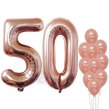 Amazon.com: Globos de oro rosa con números de papel de ...