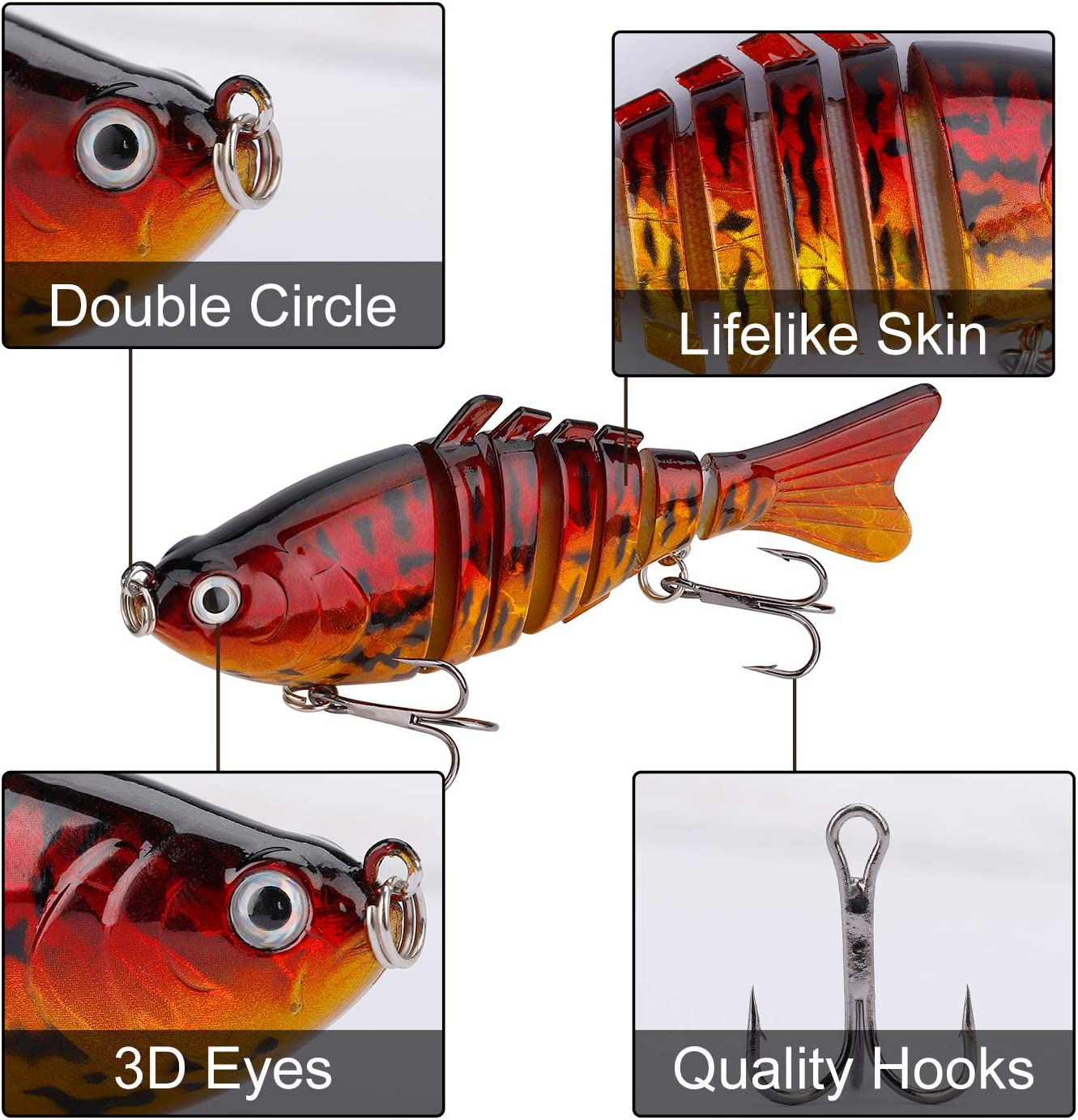 QIMEI-SHOP Fishing Lures Artificial Bionic Baits Lifelike Multi Jointed Swimming Lures with Hard Treble Fishing Hooks for Pike Bass Trout Perch Predatory Fish 2PCS