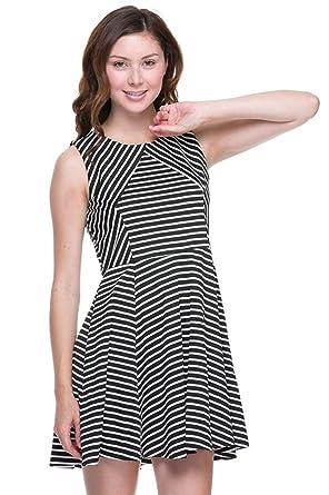 2b739a89dc 2LUV Women s Sleeveless Striped Cutout Skater Dress Black   White ...