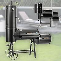 BBQ Smoker Druline großer Schwarz Stahl Räucherofen Garten ✔ Deckel ✔ Ablagefläche ✔ rund ✔ Stand ✔ Grillen mit Holzkohle ✔ mit Station ✔ mit Rädern