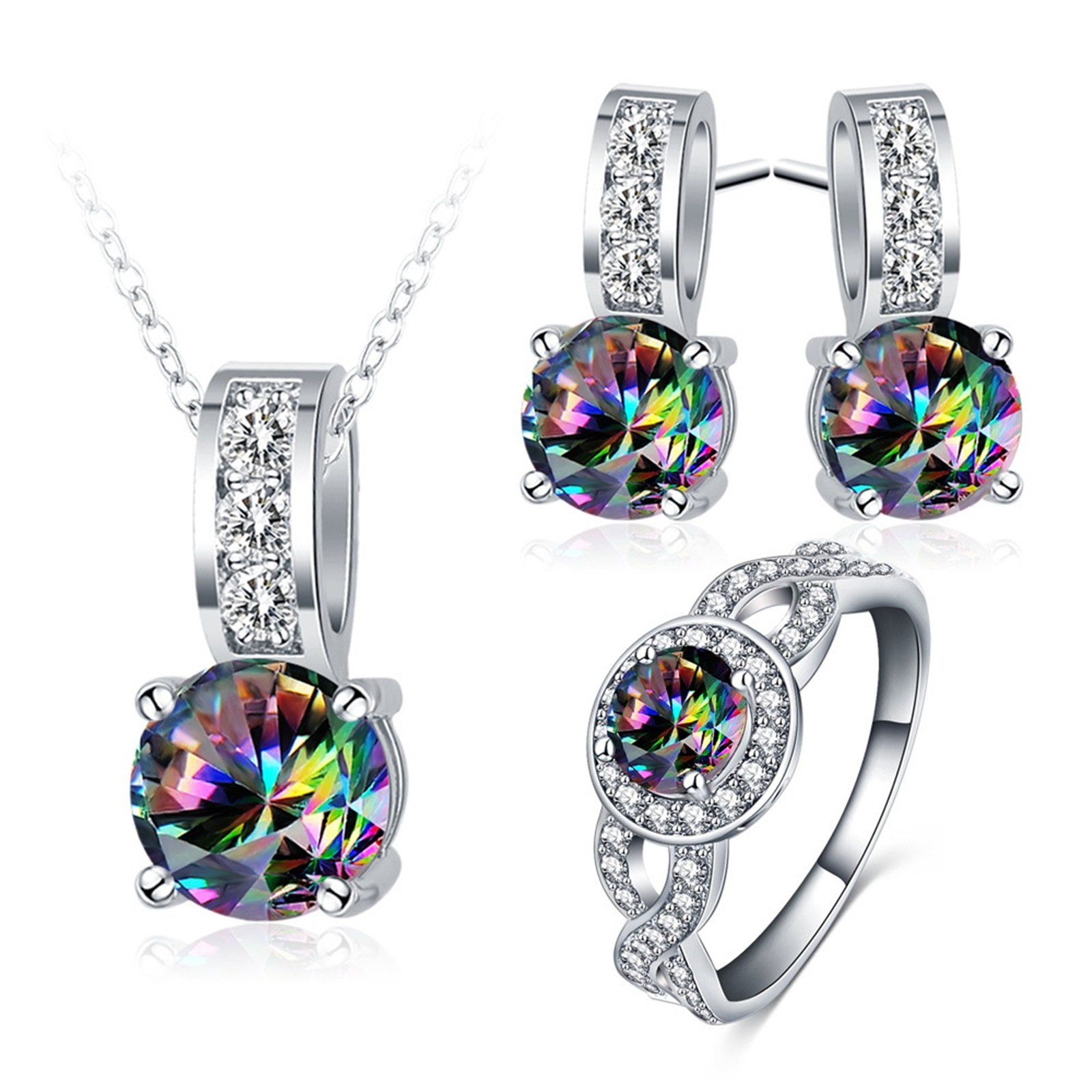 Daesar Women Girl Necklace Earrings Ring Jewelry Set Colorful Cubic Zirconia Ring Size 9