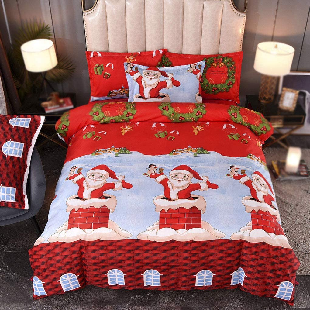 Topker 3pcs Copripiumino con federe di Natale Babbo Natale Cover Pillow Biancheria da Letto Kit Fumetto Quilt Cover Federa Set Regina Degli Stati Uniti