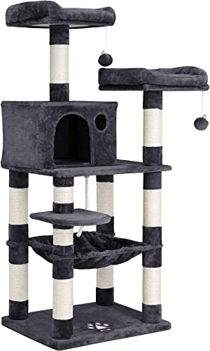 FEANDREA 56.3 inches Multi-Level Cat Tree with Sisal-Covered Scratching Posts, Plush Perches, Hammock and Condo, Cat Tower Furniture – for Kittens, Cats and Pets