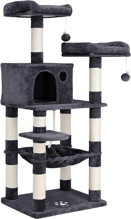 FEANDREA Árbol de Gatos, Torre con 2 Perchas de Felpa,143 cm, Gris Ahumado PCT15GYZ: Amazon.es: Productos para mascotas