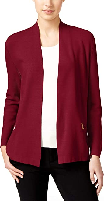 Charter Club Petite Open Front Zip Pocket Cardigan Cardinal