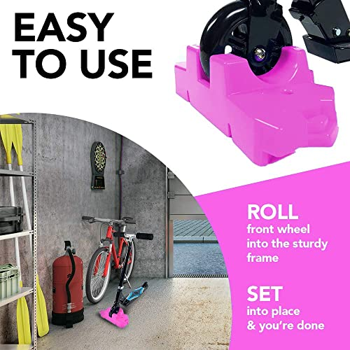 50 Strong Scooter Stand – Fits Most Scooters with 95mm to 125mm Wheels – Interlocking Design with Extra Stable Base – Made in USA – Keeps Kids Kick Scooters Organized Pink