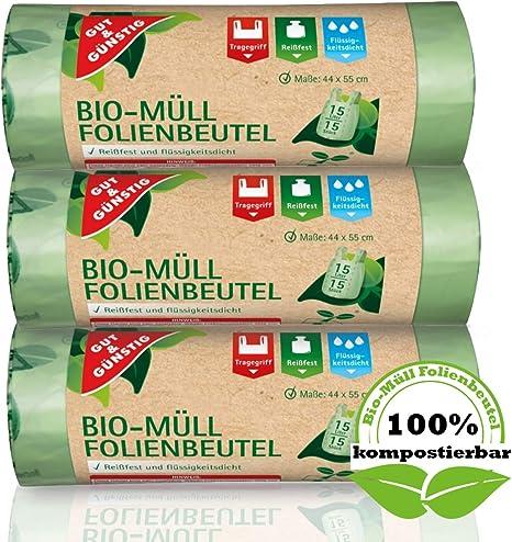 Biobeutel Biomüll 15 Liter kompostierbar 90 bis 180 Stück reißfest