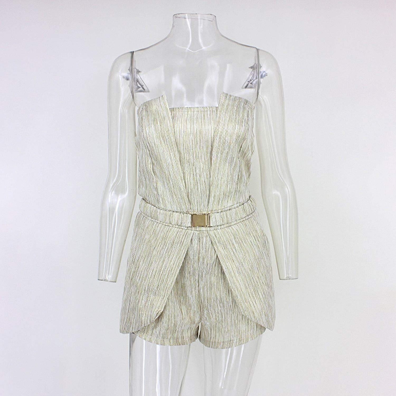 Women Rompers Waist Jumpsuit Short Pleated Overalls Jumpsuit Female Irregular Strapless Playsuit