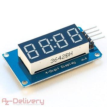 AZDelivery 4 Bits Digital Tube Módulo de pantalla LED Display I2C con pantalla de reloj para Arduino y Raspberry Pi: Amazon.es: Informática