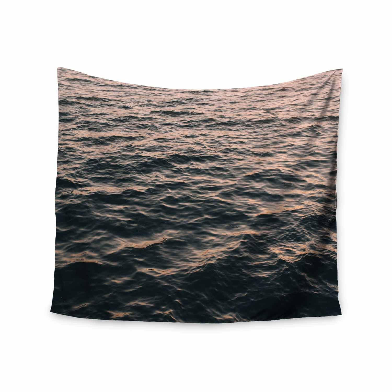 Kess InHouse Chelsea Victoria Ocean Swept Pink Blue Coastal Nature Photography Wall Tapestry