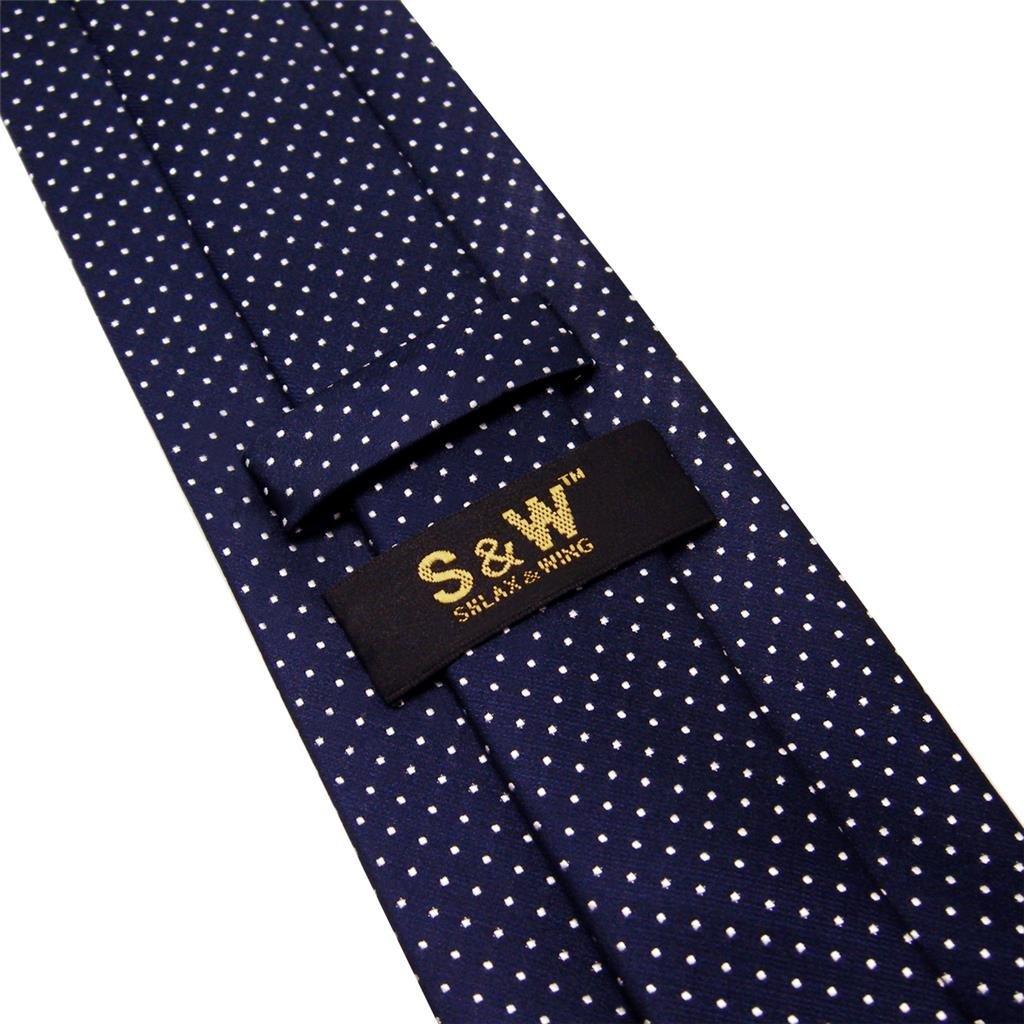 Shlax/&Wing Hombre Cl/ásico Traje De Negocios Seda Corbatas Para Azul Blanco Puntos Extra largo