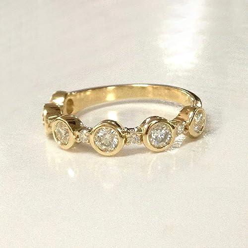 3mm Amethyst Wedding Band Half Eternity Anniversary Ring 14K Yellow Gold