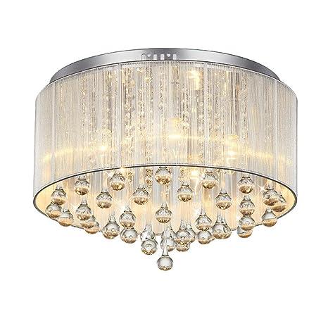 ddnl Modern cristal lámpara de techo redondas pantalla de ...