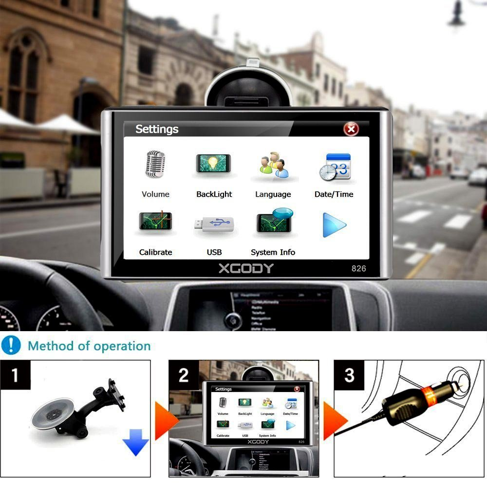 Xgody 826BT Car GPS Navigation with 6 Meters Backup Camera 7'' 256MB/8GB Sunshade Capacitive Touch Screen Trucking GPS NAV Lifetime Map Updates Speed Limit Displays Spoken Turn-by-Turn Directions by XGODY (Image #5)