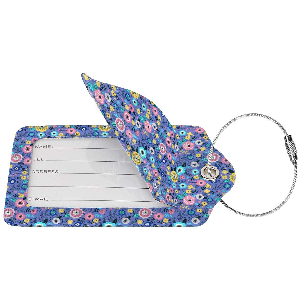 Lucaeat Sweet Tone Of Butterflies Luggage Tag PU Leather Bag Tag Travel Suitcases ID