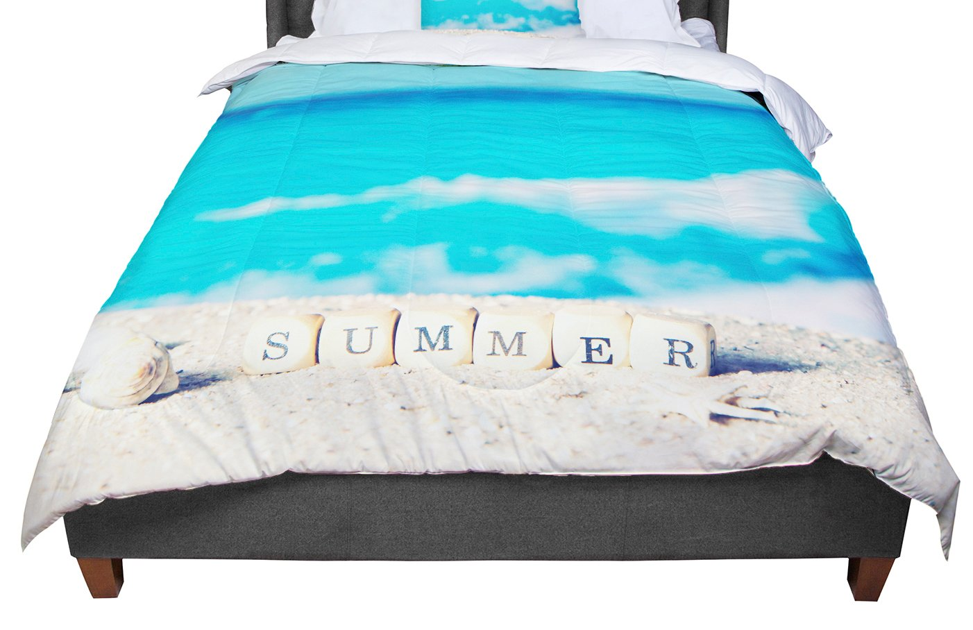KESS InHouse Monika Strigel 'Summer At The Beach' Blue Coastal Queen Comforter, 88' X 88'
