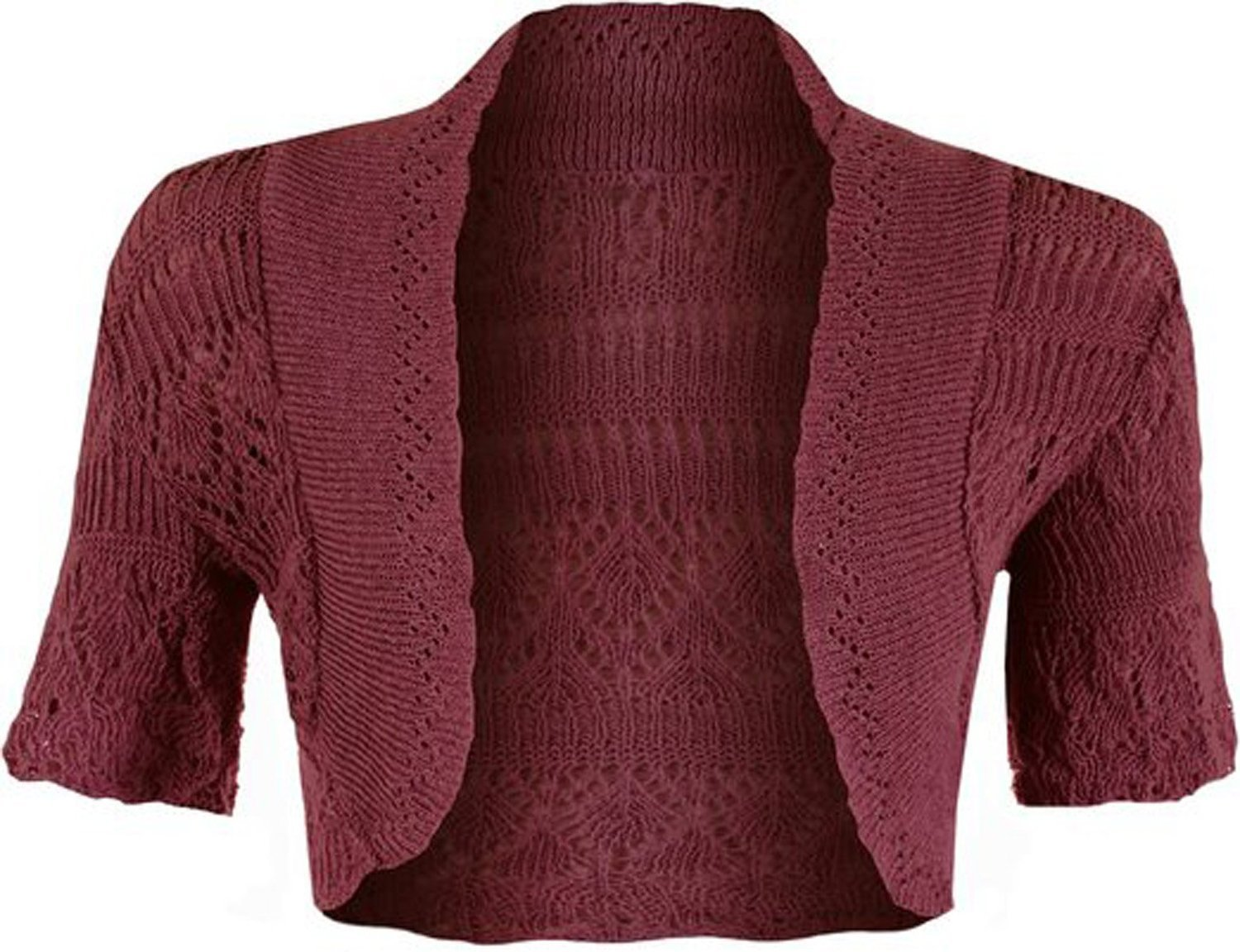 kfs collection Girls Crochet Bolero Shrug Kids Knitted Short Sleeve Cardigan