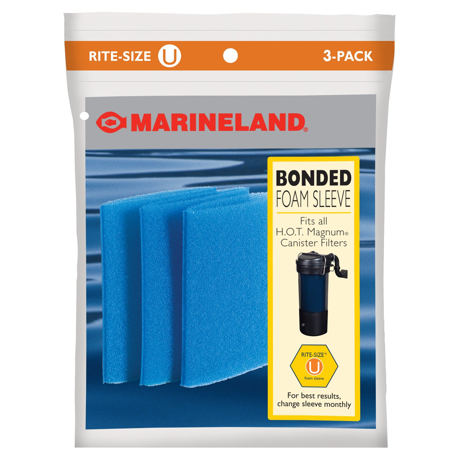 Marineland PA0115-3 Hot Magnum Foam Sleeve, Rite Size U, 3-Pack PA0115-03