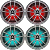 "2 Pairs (QTY 4) of OEM Replacement 6.5"" 2-Way Coaxial Marine Audio Multi-Element Boat Speakers with Multi-Color RGB Lighting Option (White)"
