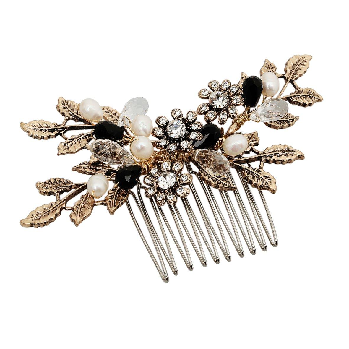 Vintage Black Flower Crystal Pearl Side Combs Bridal Headpiece Wedding Hair Accessories by MEiySH (Image #1)