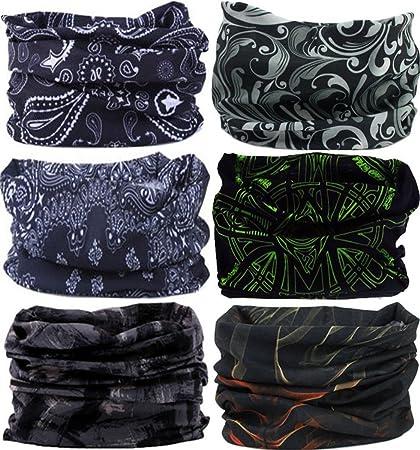 VANCROWN Headwear Wide Headbands Scarf Head Wrap Mask Neck Warmer  (6PC.Black Series. 945eaa4a2ea