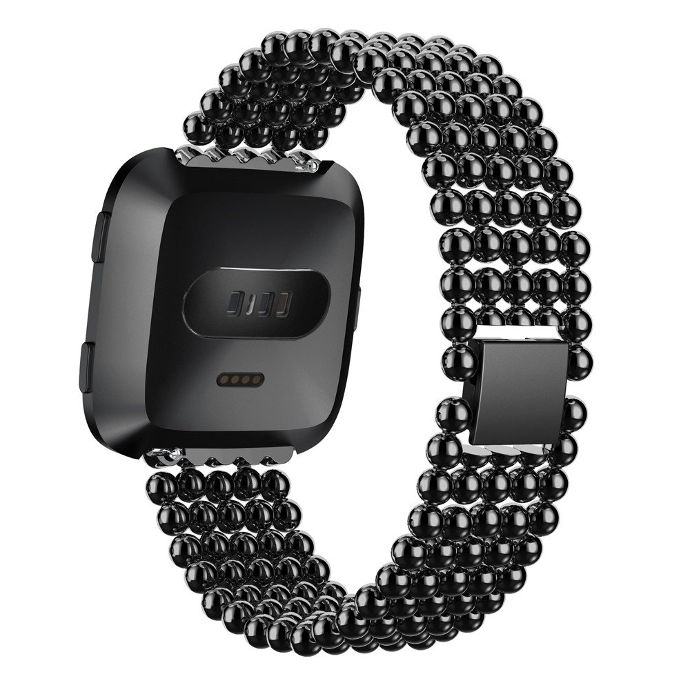 LANSKIRT Pulsera de muñeca con Correa de Reloj de aleación de Cinco Cuentas Rojoondas Correas metalicas para Relojes Recambio Brazalete para Fitbit Versa: ...