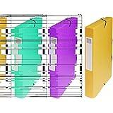Exacompta - Réf. 50409E - Boite de classement à élastiques Exabox - Dos 40mm - Format 25x33cm pour documents A4 - Carte lustrée 600g/m² - Jaune