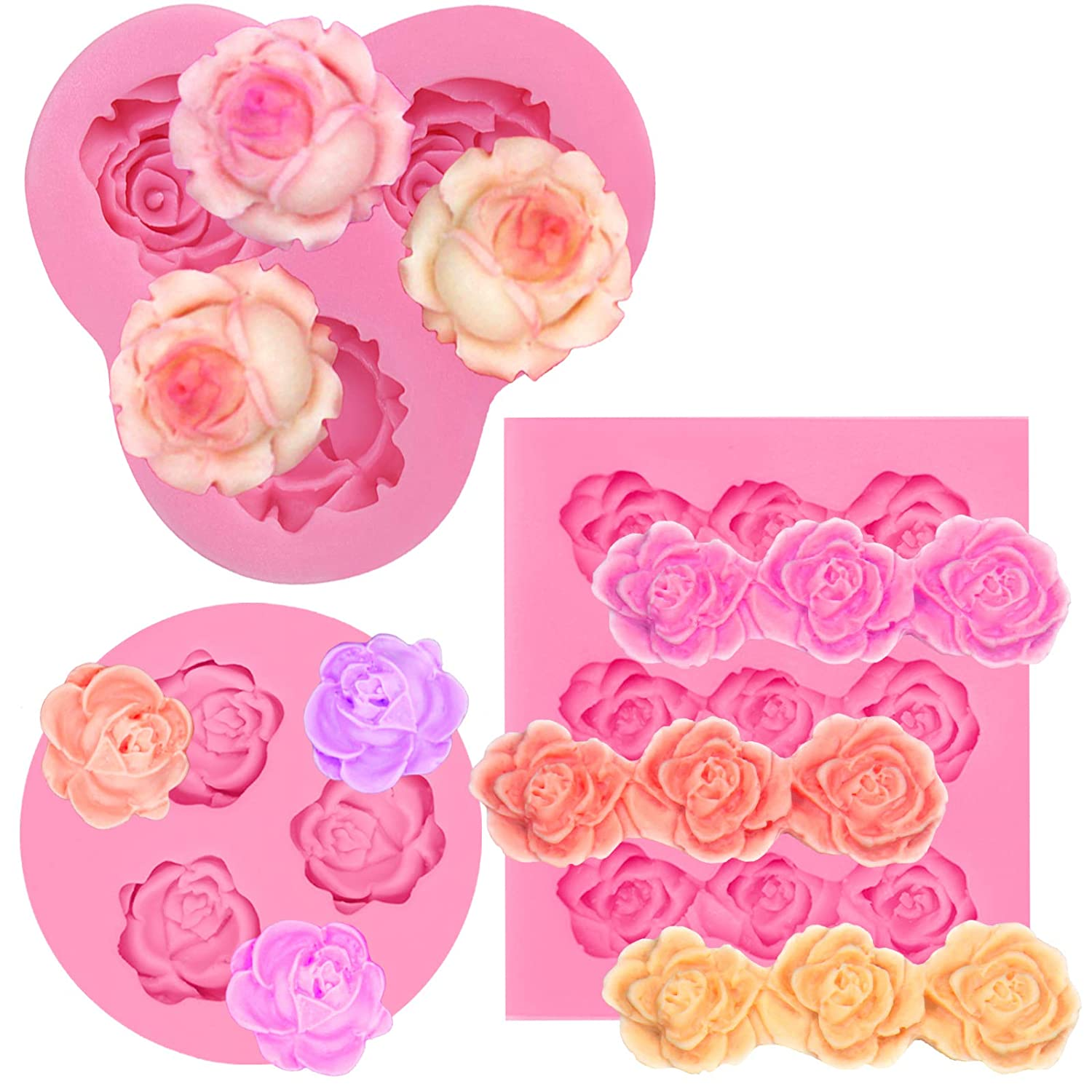 Funshowcase Assorted Sizes Roses Fondant Candy Silicone Mold for Sugarcraft Cake Decoration, Cupcake Topper, Polymer Clay, Soap Wax Making Crafting Projects, 3 Count 66 1085 1462